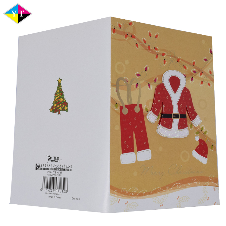 custom different types handmade decoration printing new year greeting card and envelope set