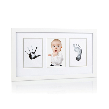 Infant Baby Handprint Footprint Wood Photo Frame Set Inkless Touch ...