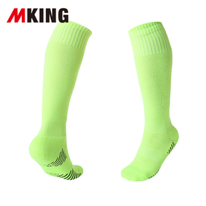 factory wholesales solid colored thick terry cushion knee high cotton football socks