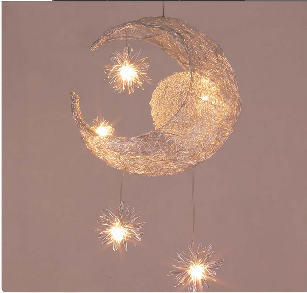 Kid's Room Lighting Modern Fashion Moon&Star Pendant Lights Child Bedroom Lamps Aluminum Chander for Living Room Home Decoration