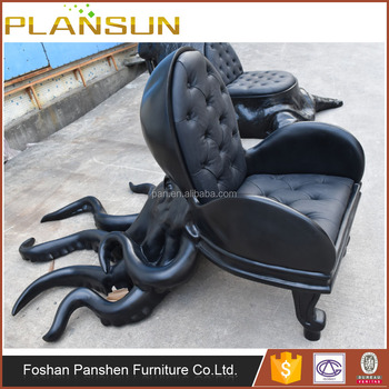 Modern Animal Furniture Maximo Riera Resin Octopus Chair In Leather