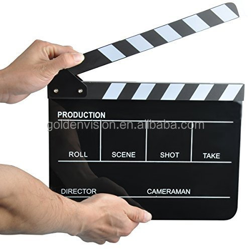 Large produce hotsale Acrylic Plastic TV Movie Video Film Clapperboard,Director Clapboard