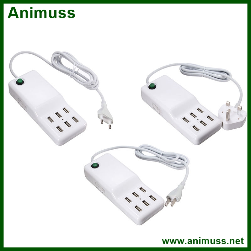 6 Port portable usb hub desktop home wall charger AC power Adapter EU/US/UK Plug slots charging socket outlet with cable