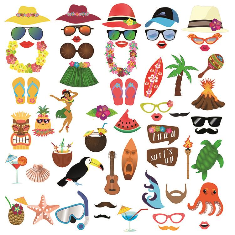 60pcs Hawaii Theme Summer Party Decorations Photo Booth Props