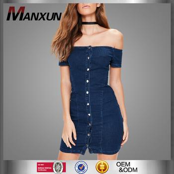 a15c9761bd0b Women Off The Shoulder Mature Bandage Denim Dress Sexy Single Button Dark  Blue Bull - Puncher