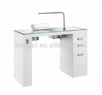 Luxury Gl Top Nail Salon Furniture Manicure Table With Led Light