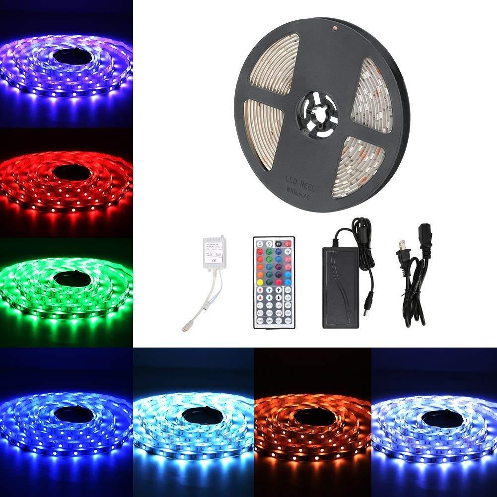 Urlitoy LED Strip Lights 16.4ft/5m 150 Units SMD 5050 LEDs Waterproof Flexible Strip Light RGB Color Changing 44 key Remote Controller 12V DC Adapter for DIY Home Kitchen Car Bar Party Decoration