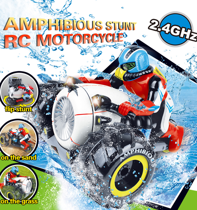 Flytec 989-333  4WD Amphibious RC Car for kids Stunt RC Motorcycle Water Proof Toy