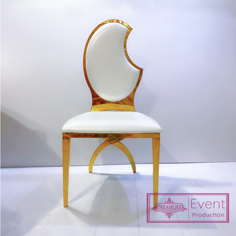 Wedding banquet chair metal moon back chair wth leather for events