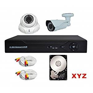 XYZ 4 Channel 960P AHD Digital Video Recorder and 2 Professional 960P Weatherproof Cameras with pre-installed 1TB HDD