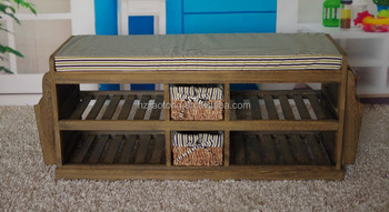 Hallway Shoes Storage Bench With Wicker Baskets For Sitting And Change Shoe