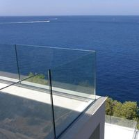 Frame less tempered glass floor panel balcony railing design glass pool fencing
