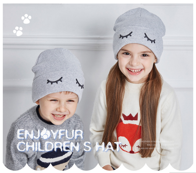 Winter Warm Baby Beanie Cotton and Acrylic Knit kids Printed Gray Knit Hats