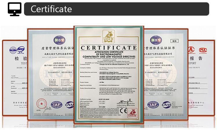 Dop Test Air Purifier H13 H14 HEPA Filter untuk Pharma Tanaman