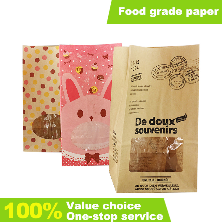 Bread paper bags with window and printed vacuum packaging bags disposable custom designed food kraft paper bags