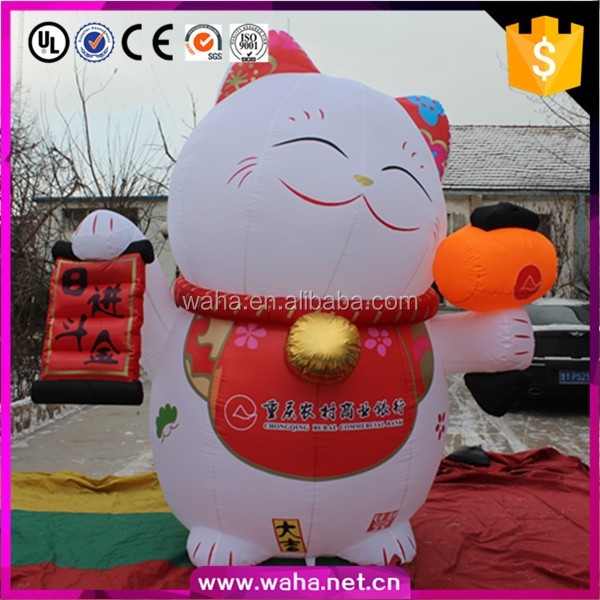 2016 big inflatable cat cartoon with blower for outdoor decoration