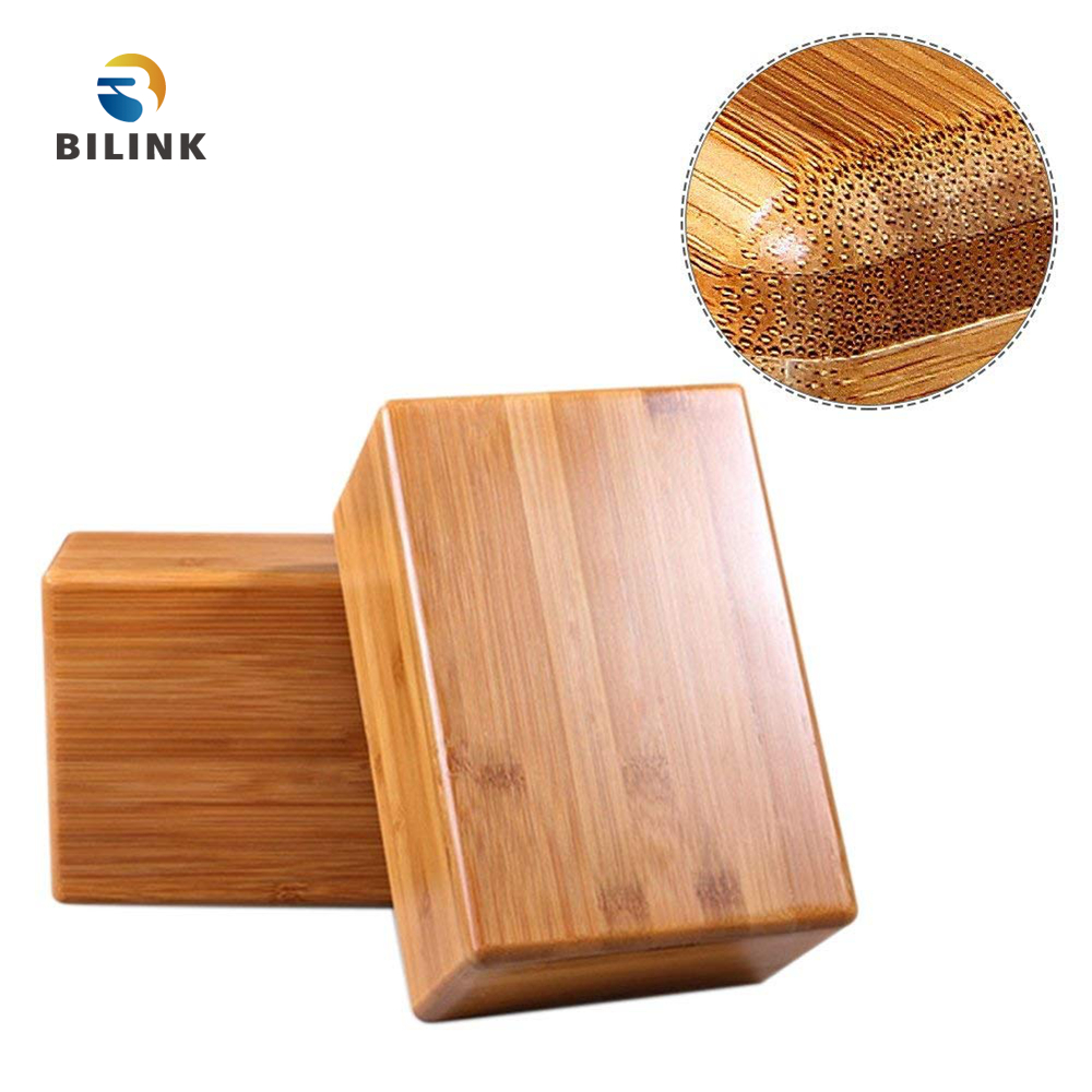 Bilink Factory price high quality custom brands wooden bamboo yoga block set