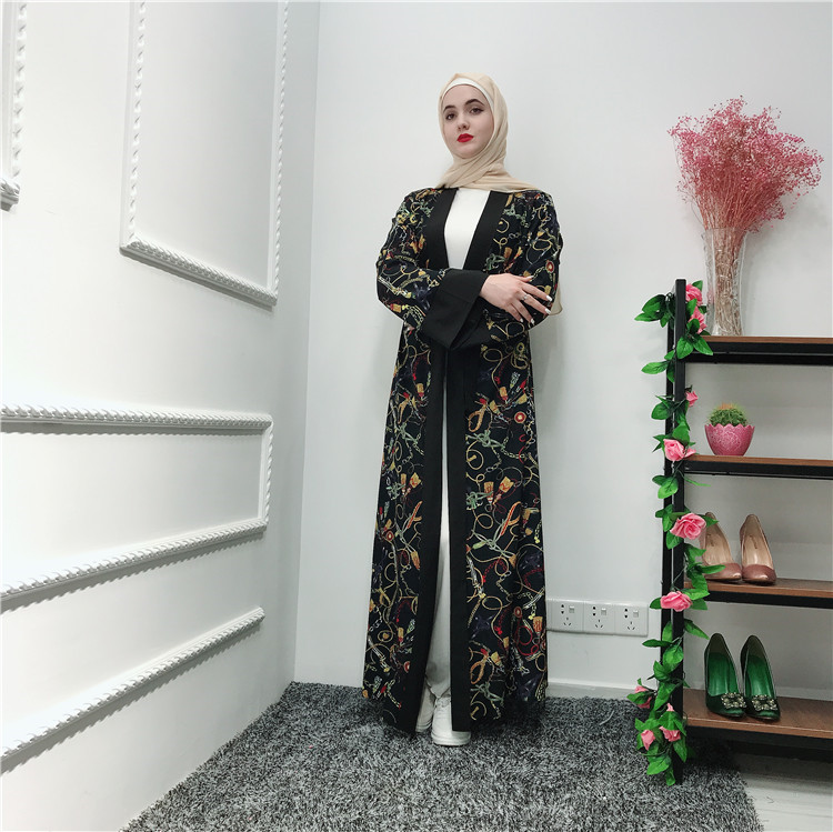 New arrival high quality flower soft crepe muslim women open abaya