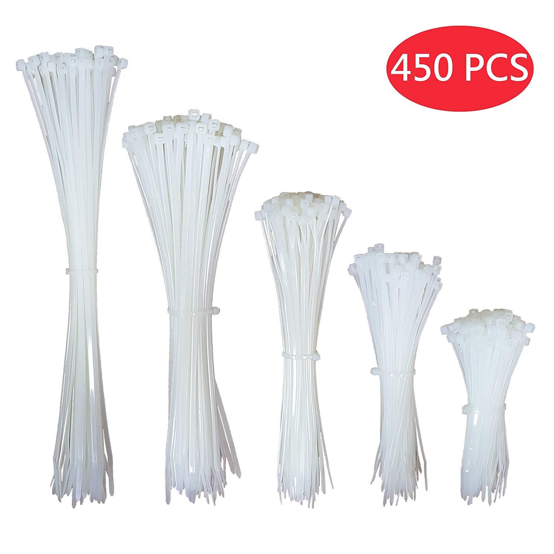 Macro Giant Nylon Cable Ties, Self Locking, White, 4 inch (100mm) x100PCS / 6 inch (150mm) x100PCS / 8 inch (200mm) x100PCS / 10 inch (250mm) x100PCS / 11.8 inch (300mm) x50PCS
