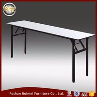 Foshan factory high quality folding and durable wood long narrow dining table