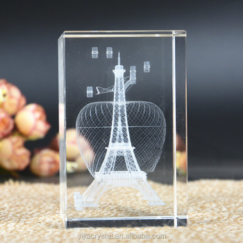 Fashion Decorations 10d-laser Engraved Crystal Block The Eiffel