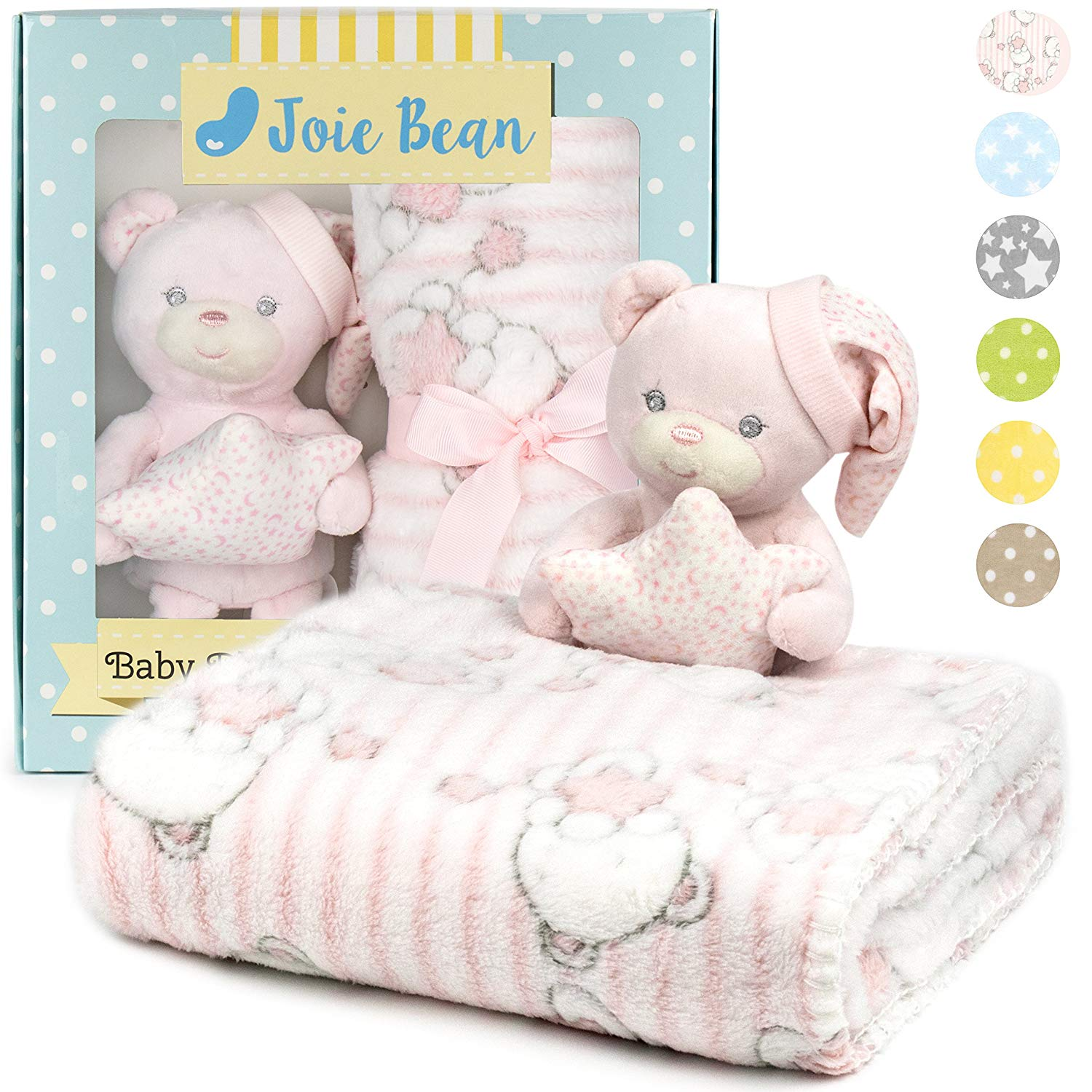 Premium Baby Blanket Set for Girl with Stuffed Animal Plush Toy | Soft Fleece Security Throw Blanket for Baby, Newborn, and Toddler | Nursery Bedding and Baby Shower Gift (Pink – Teddy Bear)