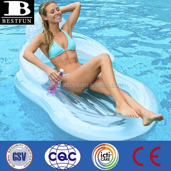 Floating Comfort Inflatable Lounge Chair Lilo White Plastic Pool Floating  Lounge Chairs Swimming Pool Lounge Chair