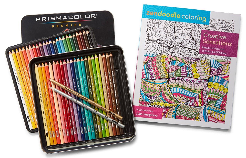 Prismacolor Premier Colored Pencils, Soft Core, 48 Pack and Adult Coloring Book (Zendoodle Creative Sensations)