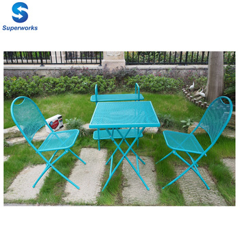 Portable Metal Garden Balcony Furniture Folding Steel Bistro Patio