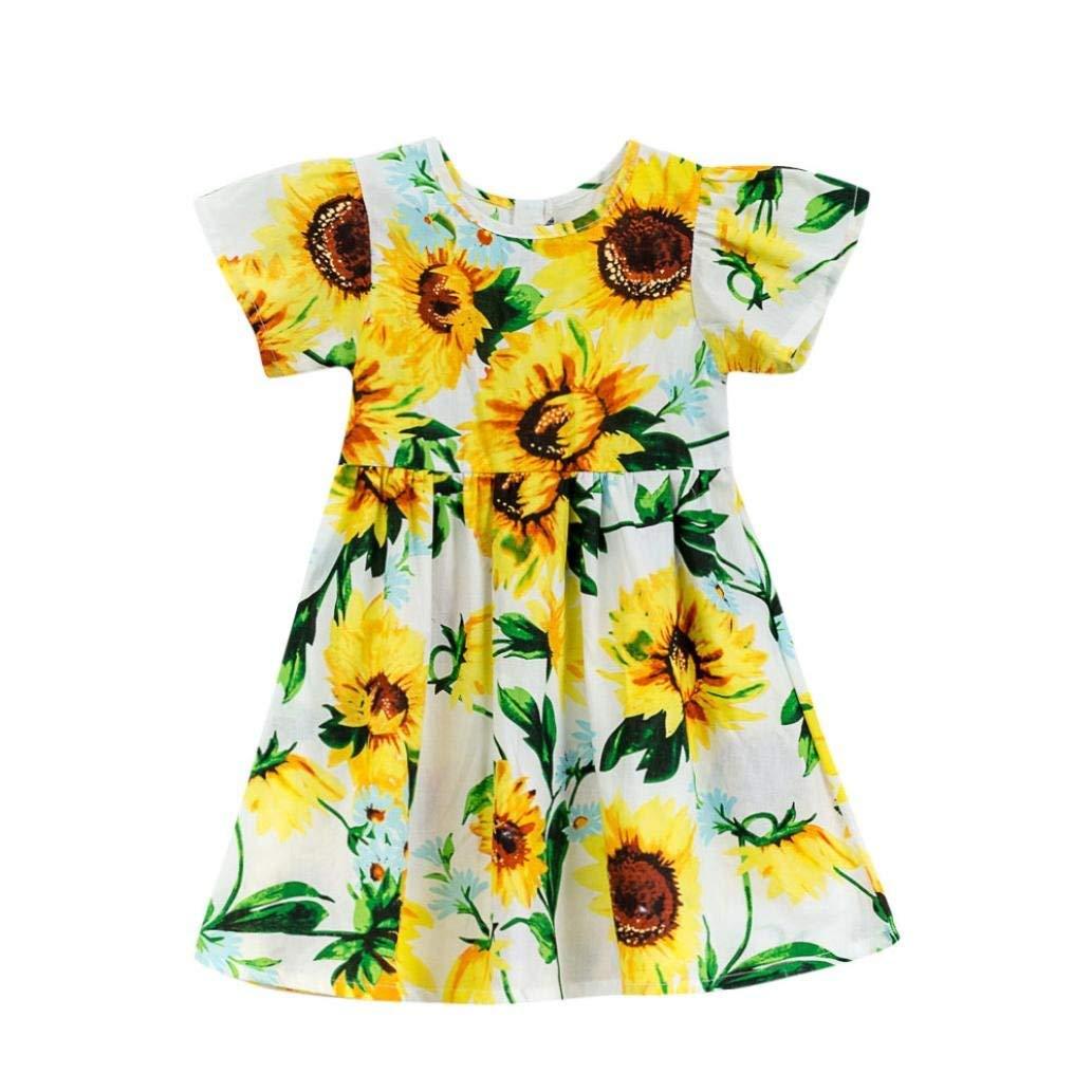 3ce562fb57551 Get Quotations · Ankola Girl's Summer Dress,Toddler Baby Girls Cartoon  Sunflower Print Short Sleeve Dress Clothes