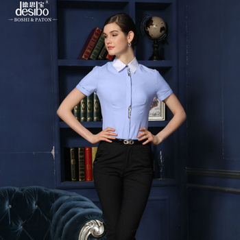 69decd3b Custom stylish office wear shirts for women short sleeve solid color style