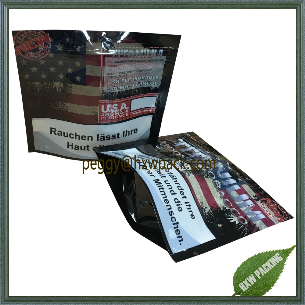 Hot selling stand up TITANIUM HOOKAH TOBACCO packaging bags