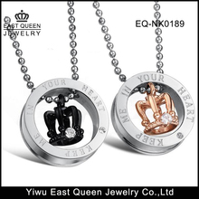 316L Stainless Steel Couple Necklaces Keep Me In Your Heart Crown Pendant Necklace