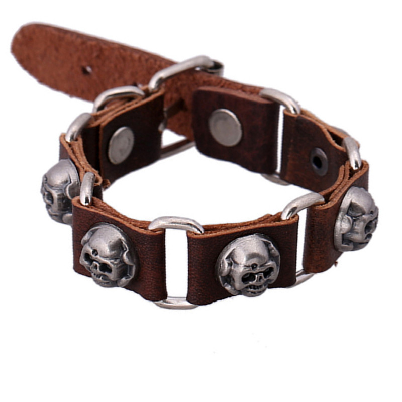 sh8-4  Personality Fashion Skeleton Leather Bracelets Punk Charm Design Cheap Leather Bracelets For Men&Women Free Sippping