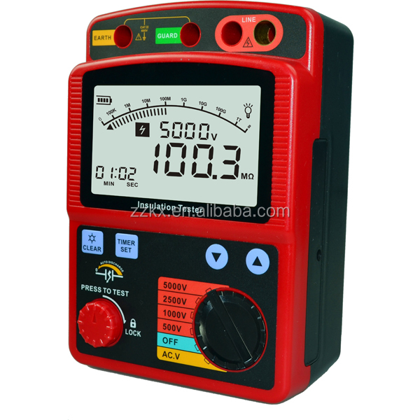5000V Digital Insulation Tester Megger Tester 1000G OHM High Voltage Resistance Tester GM3125