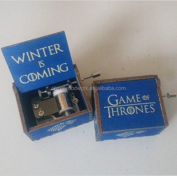 Engraved blue color game of thrones wooden music box