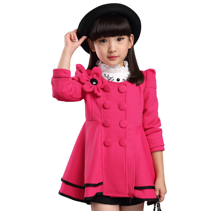 2015 Trench Coats Girls Winter Coat Double Breasted Kids Trench Coat Flower Fashion Manteau Fille Skirt Manteau Enfant For 4-14T
