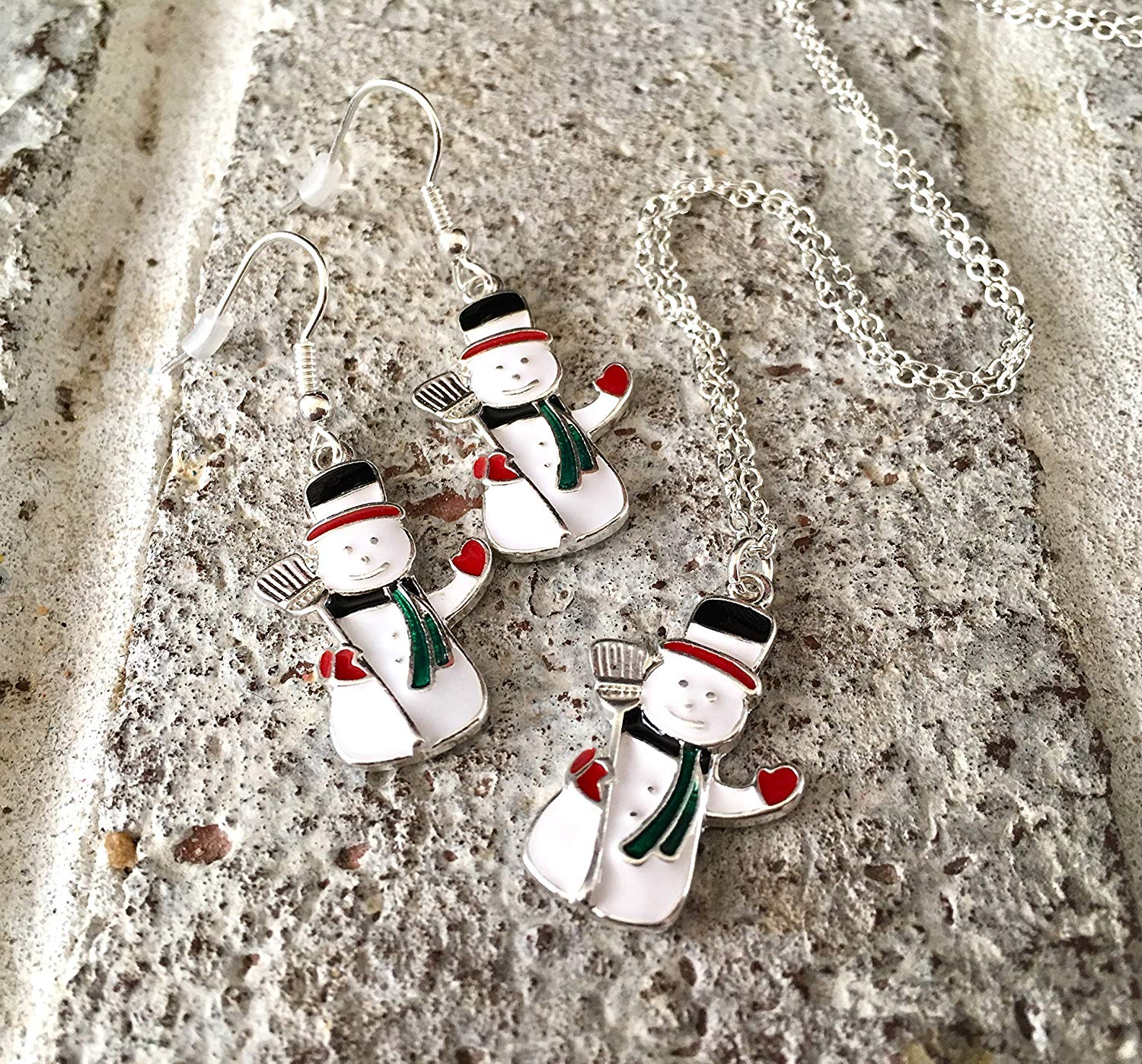 Christmas Jewelry Set, Snowman Enamel Pendant Necklace Earrings Set, holiday earrings, christmas pendant, pendant necklace, snowman earrings, snowman necklace, christmas jewelry, christmas earrings