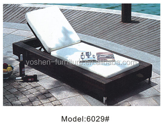 Rattan furniture classic outdoor rattan wicker sun lounger with cushion