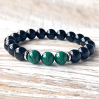 SN1082 Wrist Mala Beads Yoga Jewelry Spiritual Gift Men Fancy Malachite Black Onyx bracelet