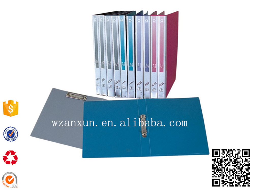 Colour PVC File Folder/lever arch file/binder PP 2D Ring Binder with pocket
