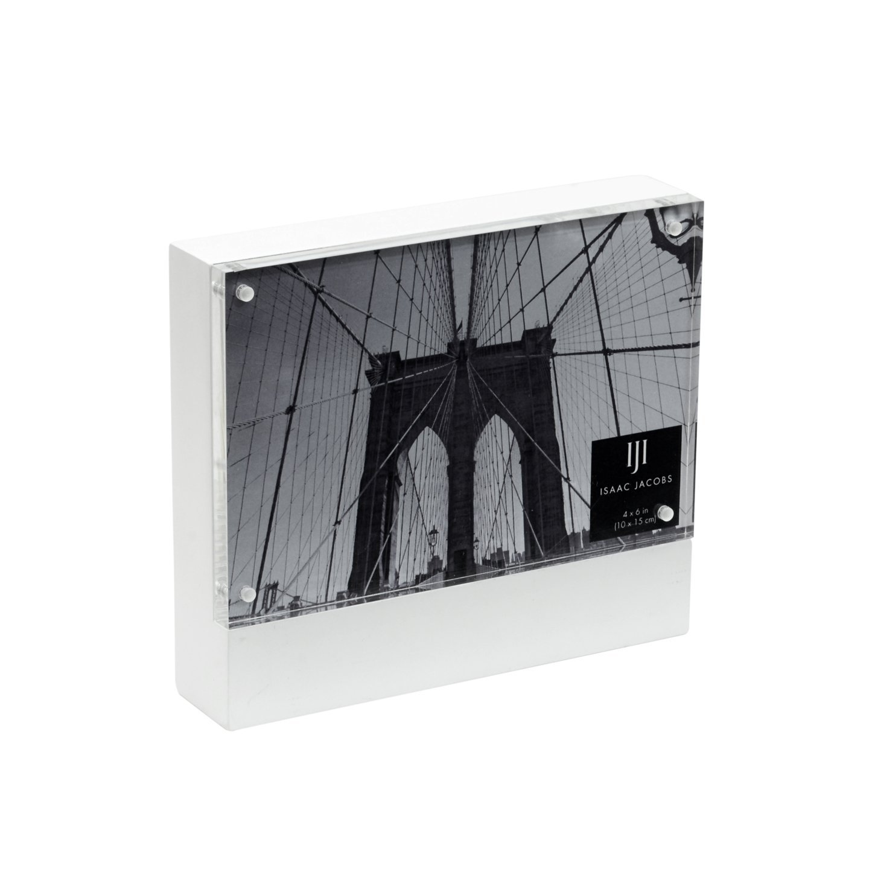 Isaac Jacobs Wood Block Acrylic Frame, 4x6 White