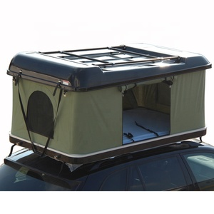 Outdoor camping 2 person car hard shell roof top tent with rack