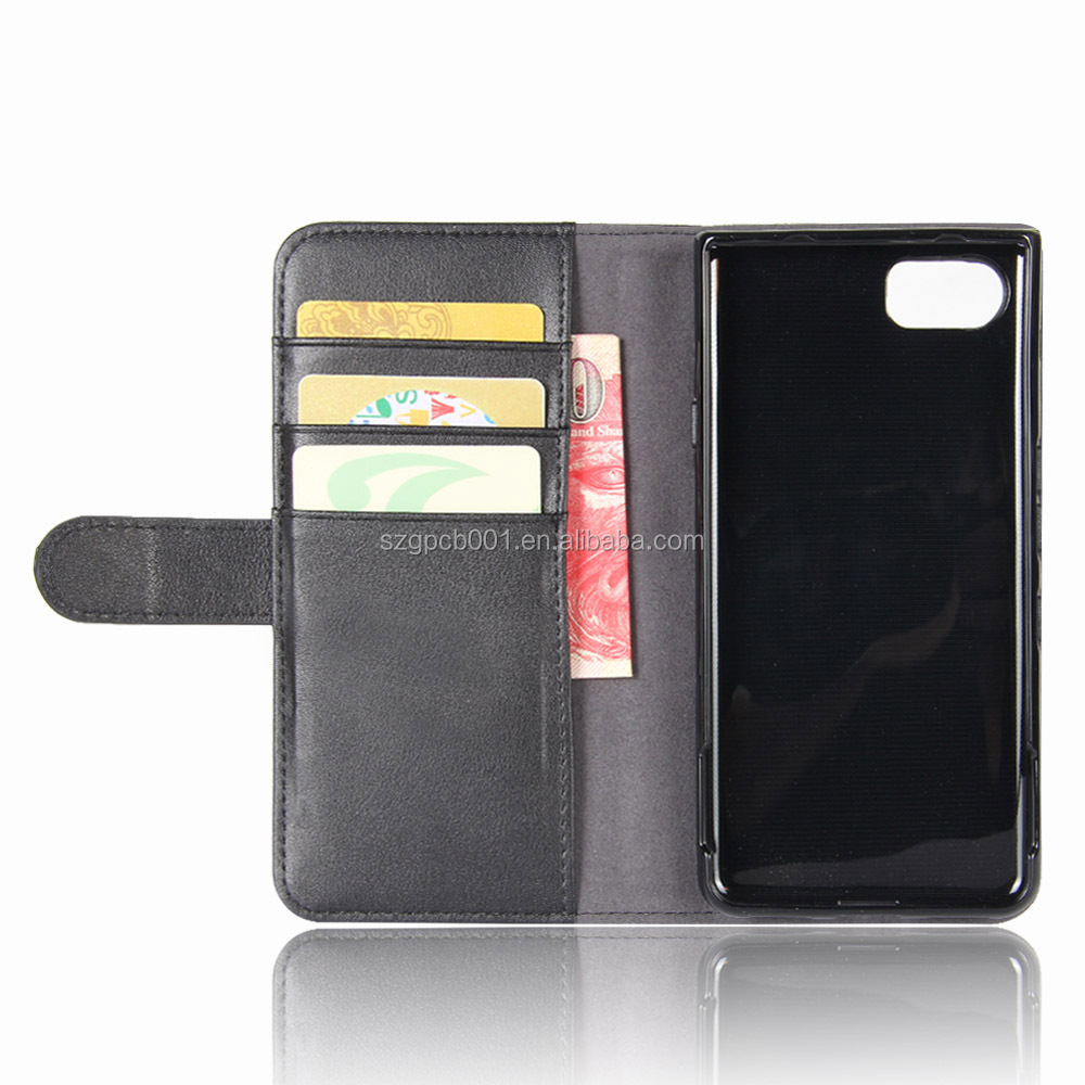 GVC Luxury Genuine Cow Leather Case Stand Flip Wallet Phone Case Cover Case for BLACKBERRY KEYONE DTEK70 With Card Slots