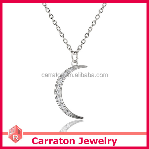 wholesale 925 sterling silver AAA grade zircon crescent moon pendant necklace for women