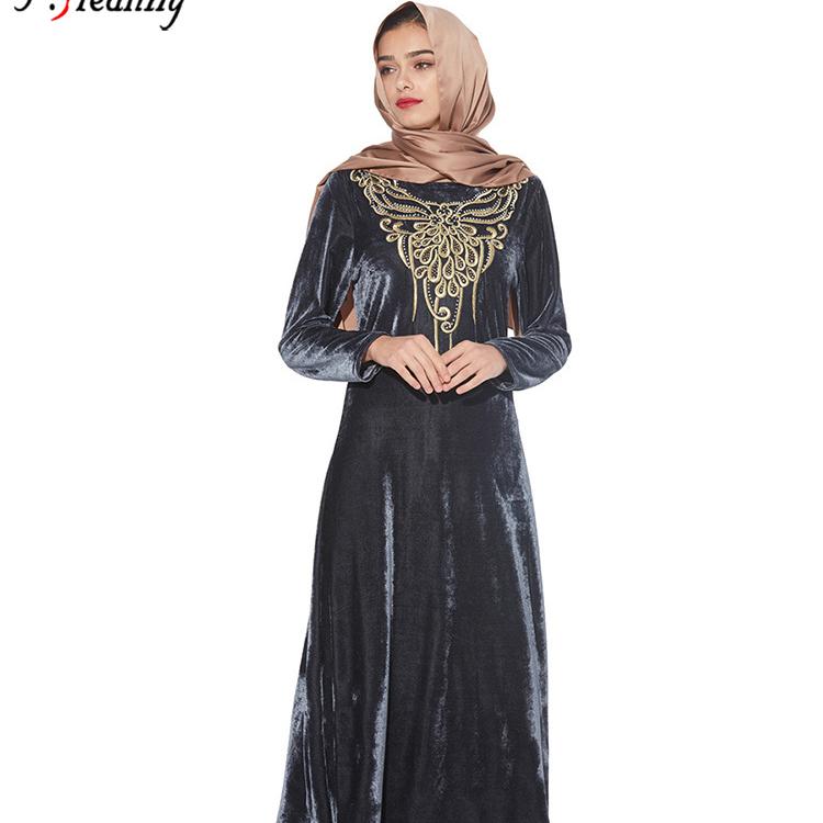 Neue Muslimische Abaya Arabisch Lange Kleid Samt Gestickt Rmeln Islamischen Anbetung Roben
