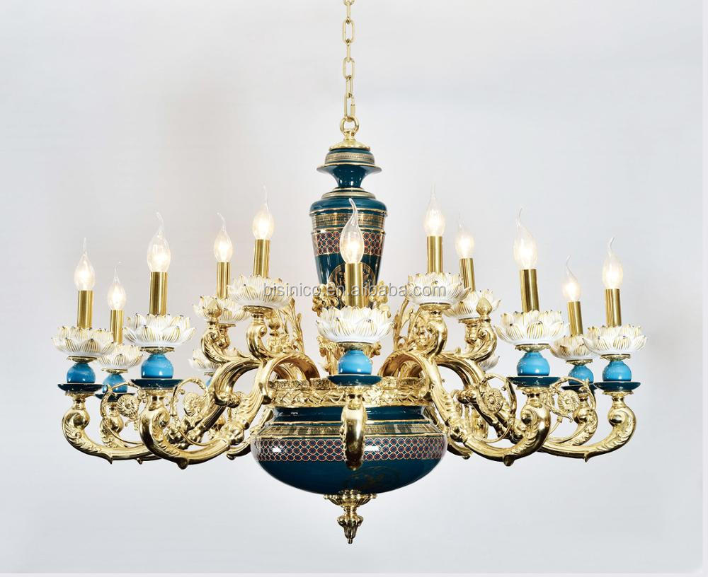 European porcelain chandelier with gold plated brass carved arms european porcelain chandelier with gold plated brass carved arms arabic antique 6 lights ceramic pendant arubaitofo Gallery