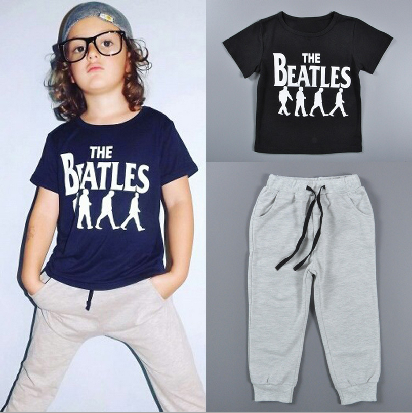 Wholesale baby boys outfits printed short tee and grey pants sets