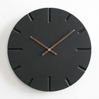 Mandelda 12 inches Non Ticking Black Wood Concrete 3D Hanging Watches Modern Home Decorative Wall Clock Manufacturer