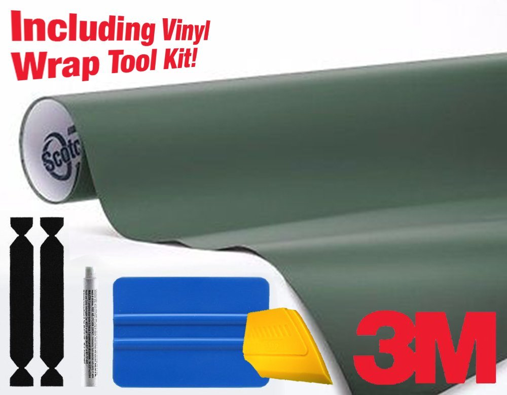 3M 1080 Matte Military Green Air-Release Vinyl Wrap Roll Including Toolkit (15ft x 5ft)